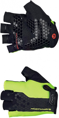 Northwave Guanti Ciclismo Grip Short Gloves Yellow Fluo/Black